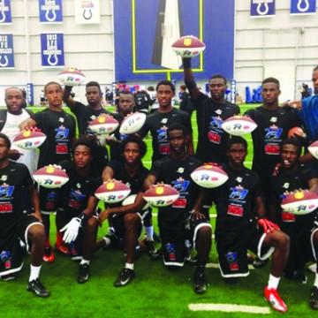 photos COURTESY OF MIAMI DOLPHINS WINNING TEAM: Members of the winning Booker T. Washington F-5 Tornadoes pose for a photo after their second 7-on-7 championship win in Indianapolis. From left, front row, are Head Coach/Offensive Coordinator  Tim Harris Jr., Antonio Callaway (WR), Darrius Scott (WR), Ocie Rose (DB), Davanta Davis (DB), Dontye Carriere-Williams (DB), Terry Jefferson (DB). Back row: Coach Dominic Johnson, Clevan Thomas Jr. (WR), Dedric Mackey (DB), Shaquille Green (WR), Maurice Alexander (QB), Vaquan Smalls (WR), Mark Walton (RB), Coach Torian Bean and Coach Nitron Stork.